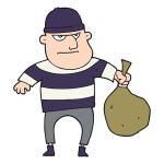 53984309 - freehand drawn cartoon burglar with loot bag